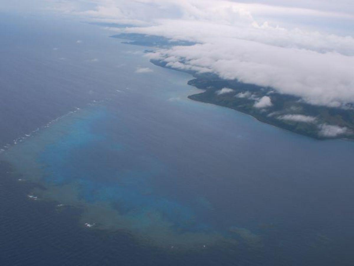 Fringing coral reef in Fiji