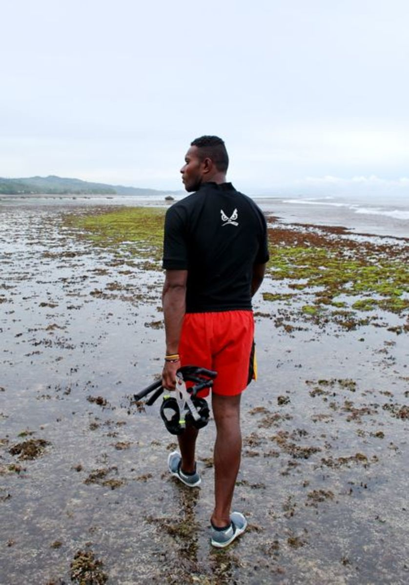 Coral reef walking in Fiji
