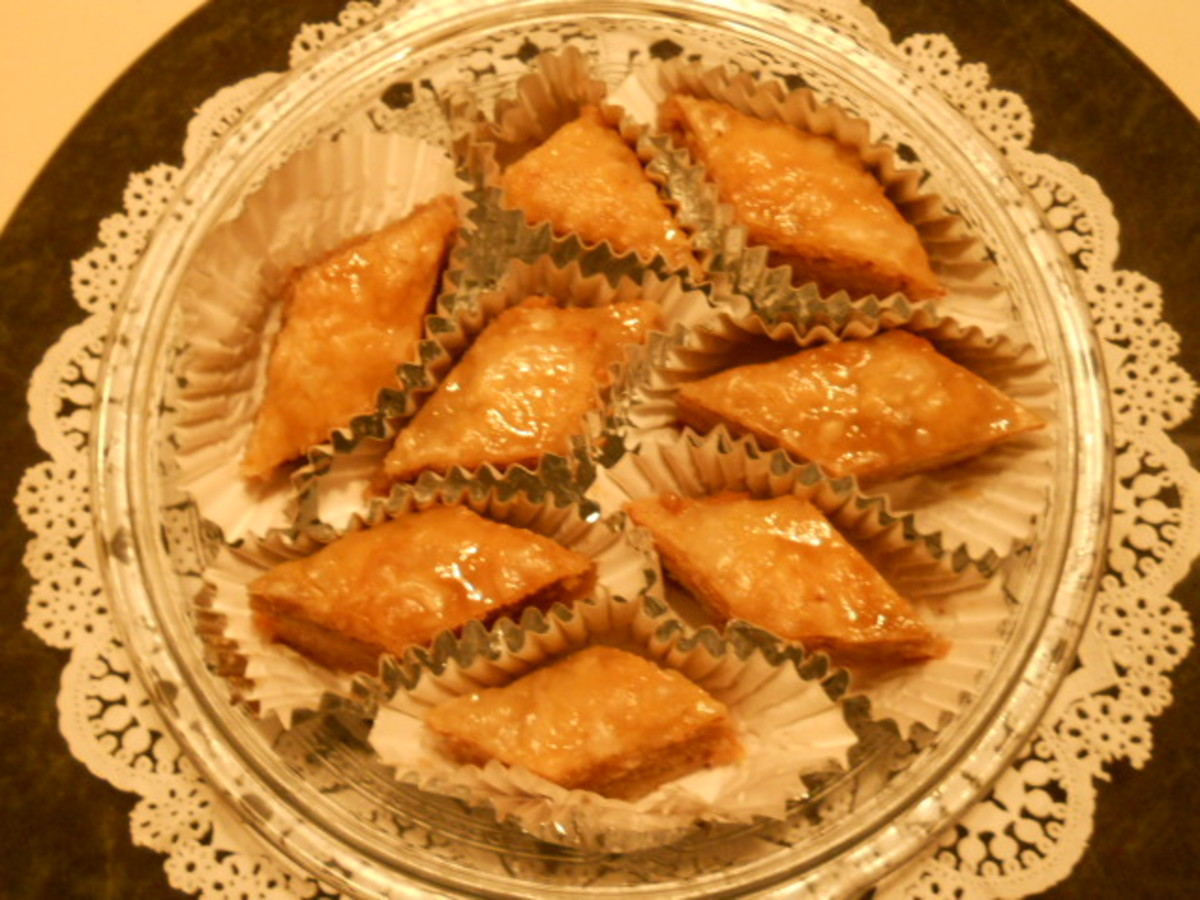 Baklava on serving platter