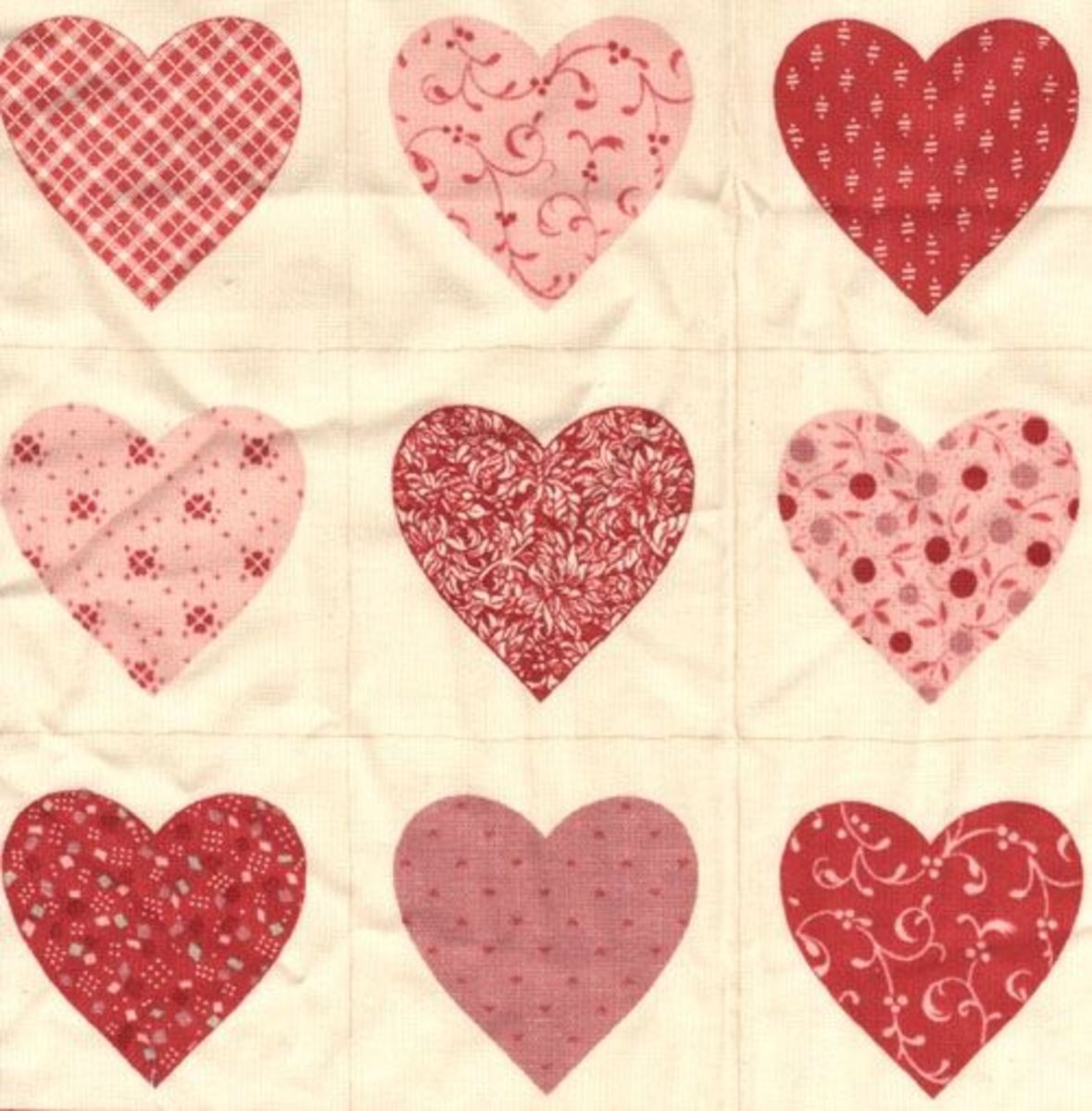 fabric for quilted heart Christmas Tree ornaments