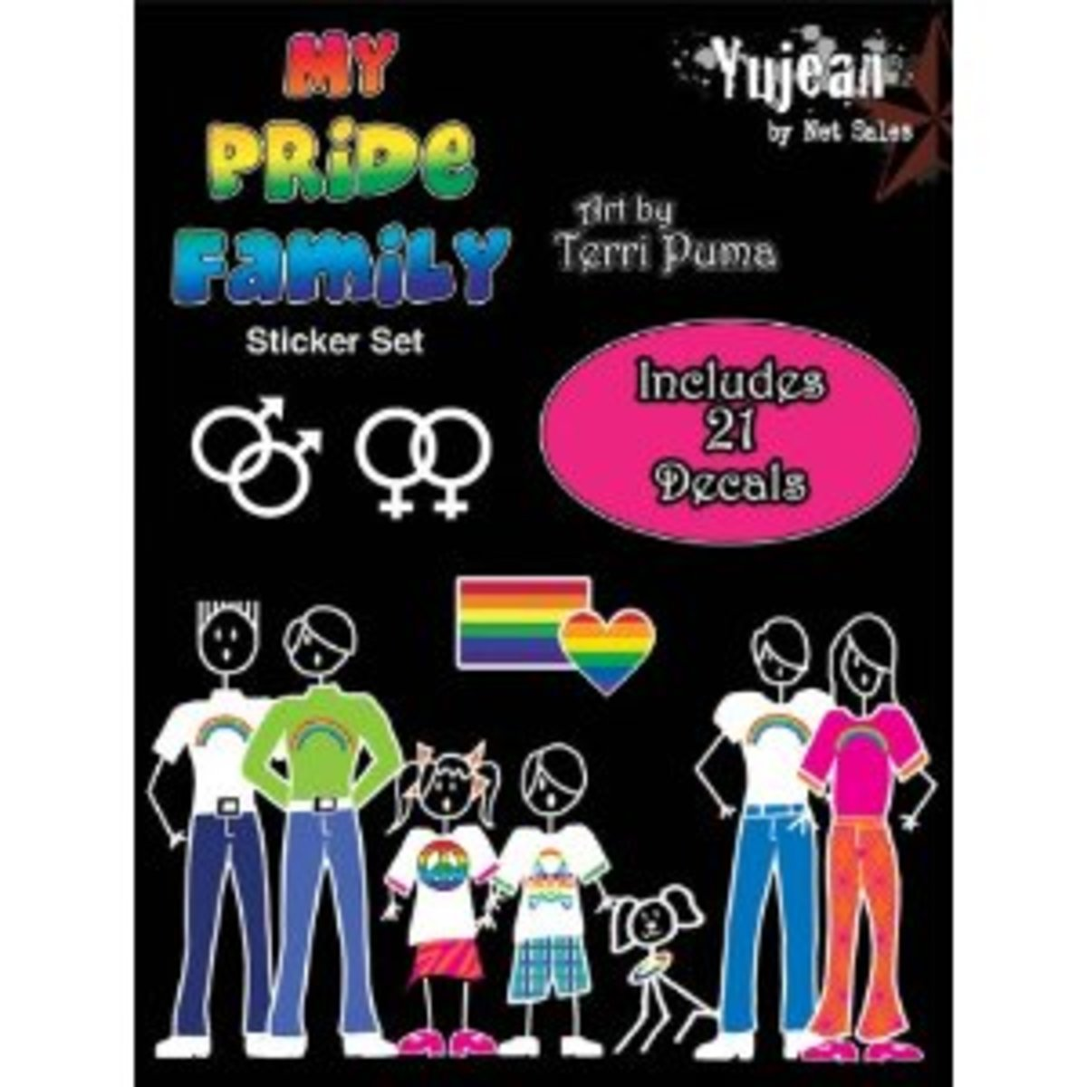 """""""My Pride Family Stickers Set""""  Weather-resistant, extra long-lasting. 6""""x 8"""" package size. Artist: Terri Puma"""