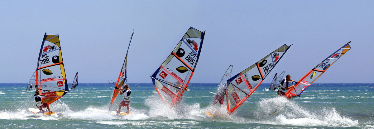Windsurfing is popular on Rhodes Island's Prasonisi Beach in beautiful Greece.