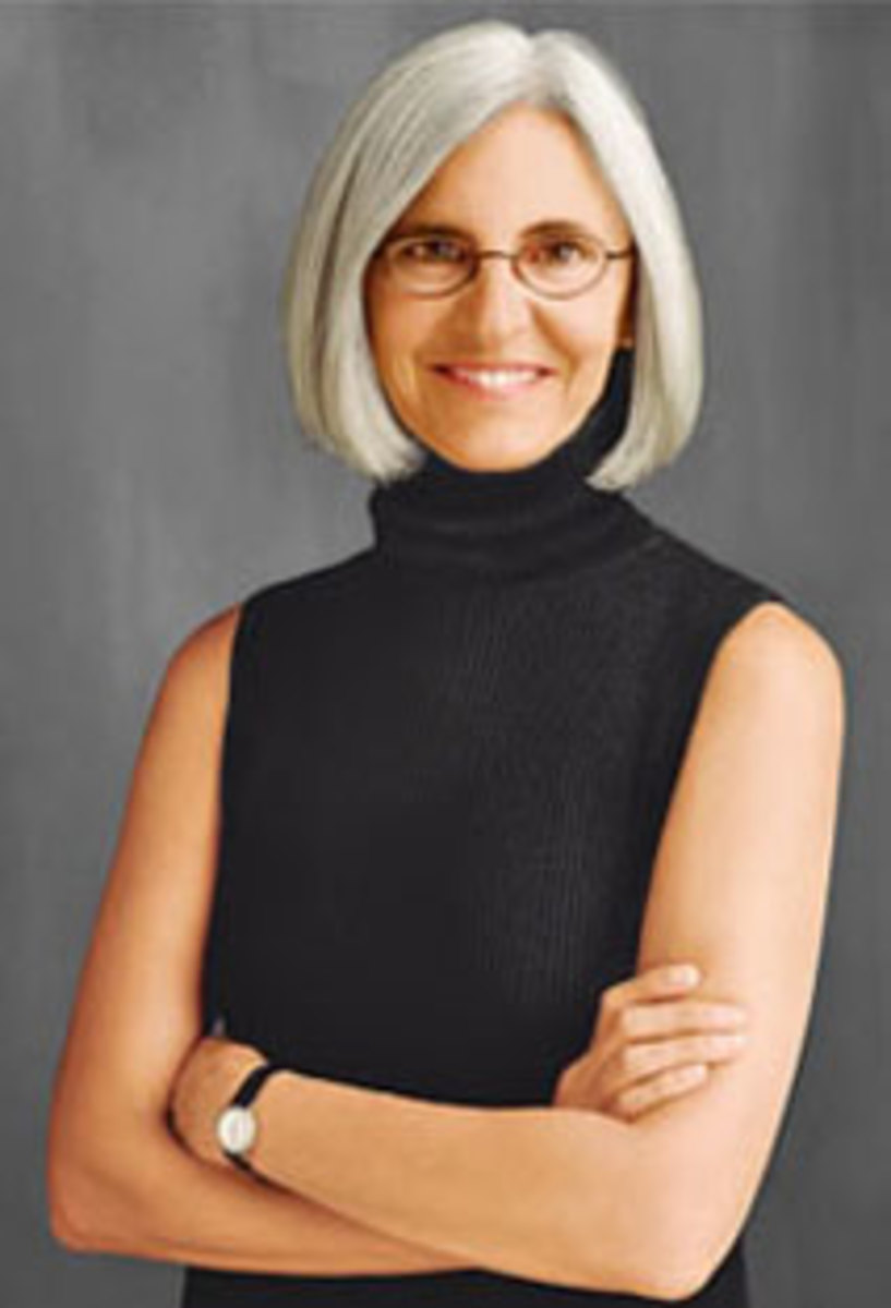 Designer Eileen Fisher and her trademark chin length pageboy.