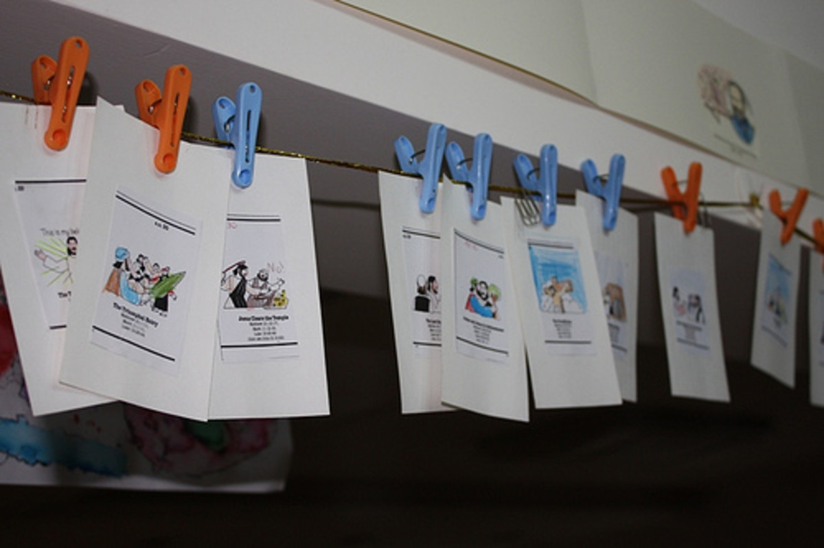 Timeline figures from the New Testament hanging from a ribbon with clothespins.