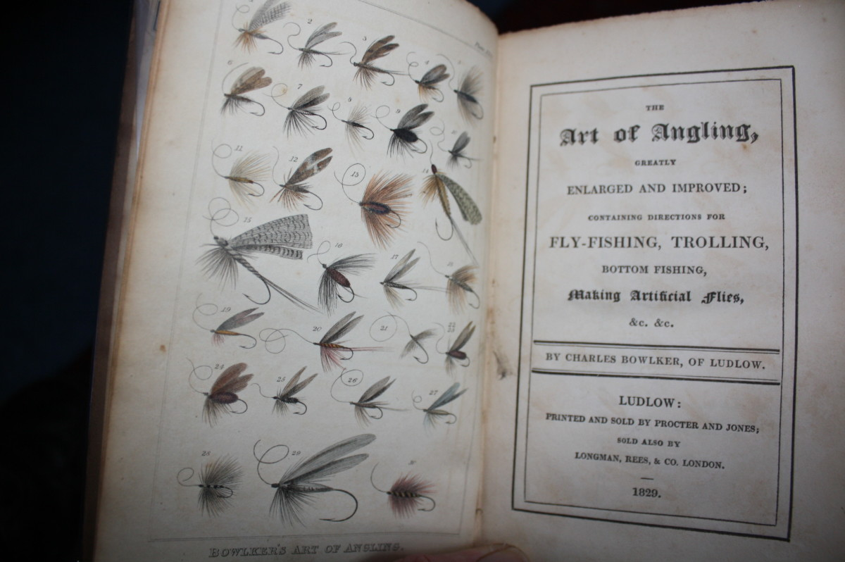 """The frontispiece of """"The Art of Angling""""-1829 by Charles Bowlker (early 19th century fishing flies)"""
