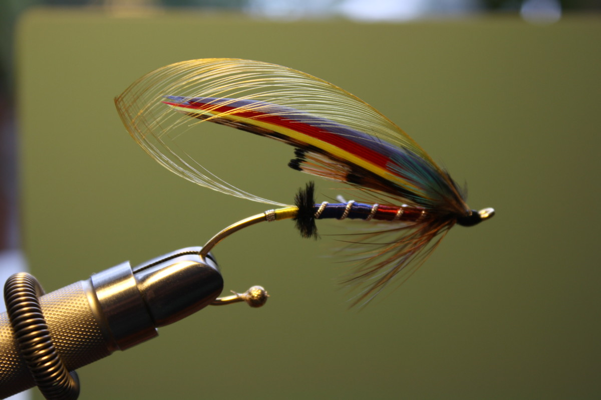 This is the salmon fly seen being constructed in the video referred to above. They make wonderful gifts for the lady in your life.