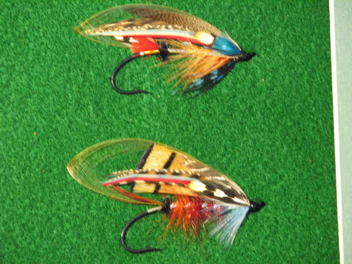 """These are flies that I dressed some years ago. The dressings come from T.E. Pryce-Tannatt's book """"How To Dress Salmon Flies"""", published in 1914."""