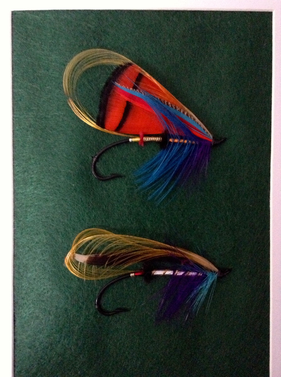 Another set of salmon flies recently dressed and then framed