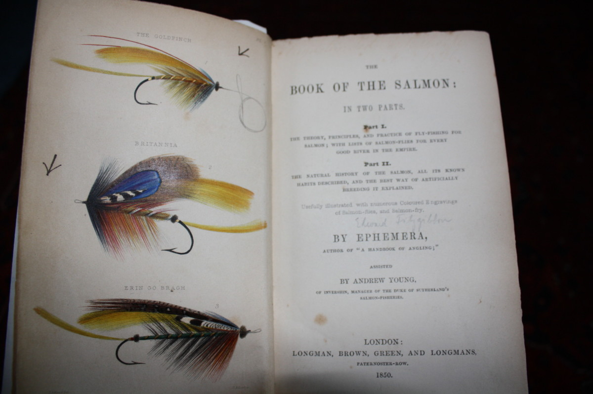 """This is the frontispiece and title page of Edward Fitzgibbon's book """"The Book of The Salmon""""-1850"""