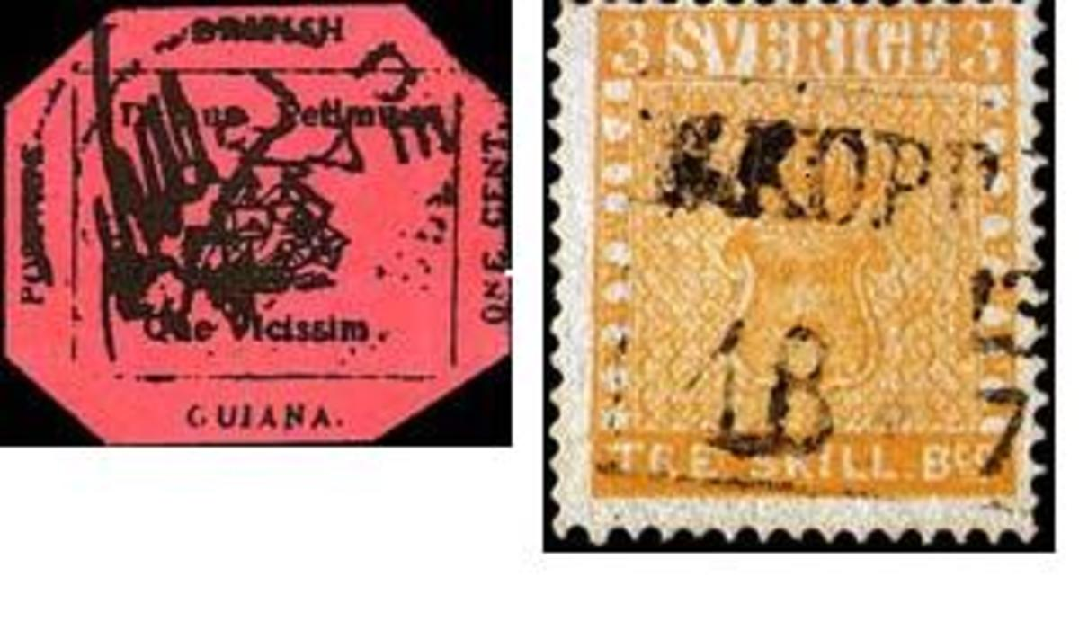 """1856 one-cent """"Black on Magenta"""" of British Guiana on left the world's most valuable stamp.   Treskilling  Yellow on right is also a very expensive stamp"""
