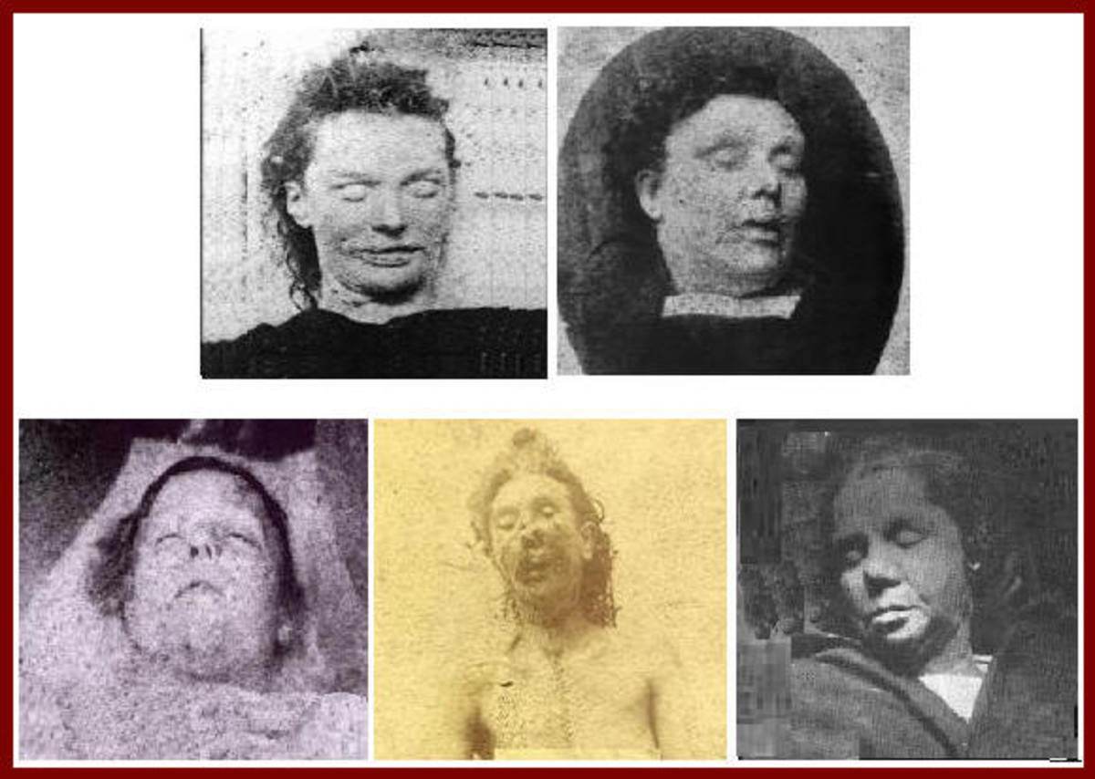 Top row: Elizabeth Stride   . . . Annie Chapman Bottom row: Mary Ann (Polly) Nichols,  Mary Jane Kelly,  Catharine Eddowes