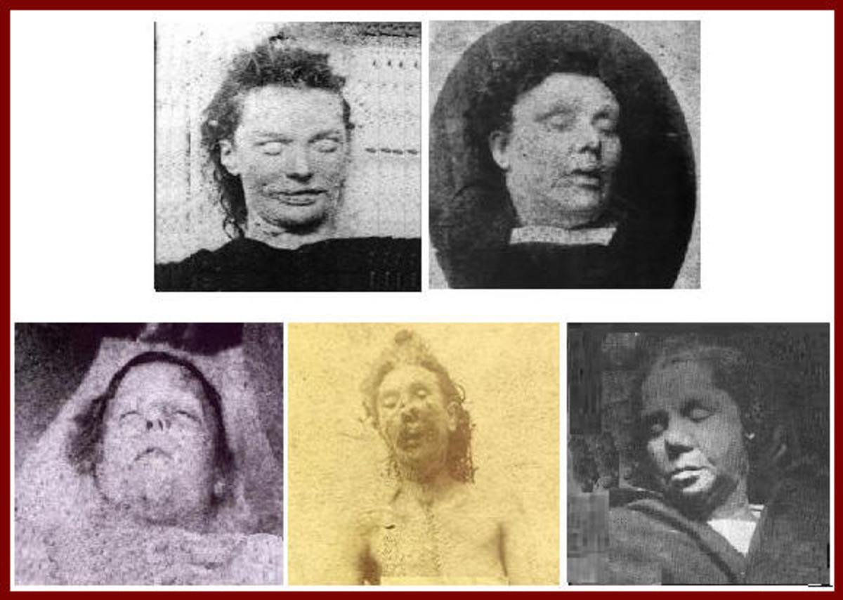Top row: Elizabeth Stride   . . . Annie Chapman Bottom row: Mary Ann (Polly) Nichols,  Mary Jane Kelly,  Catharine Eddowes