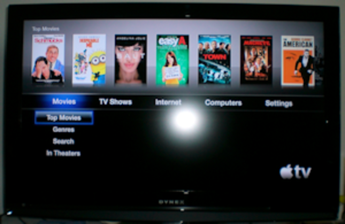 Main Screen accessed when first starting Apple TV - Movies.