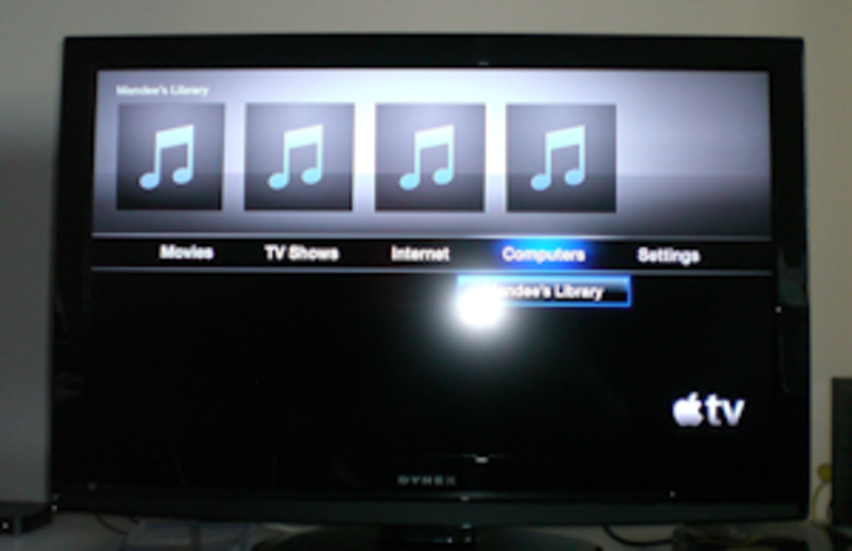 Computers menu. Apple TV is synced with my desktop computer. Meaning -- it will read from the music, video, photo, etc... files on my desktop and show on my television.