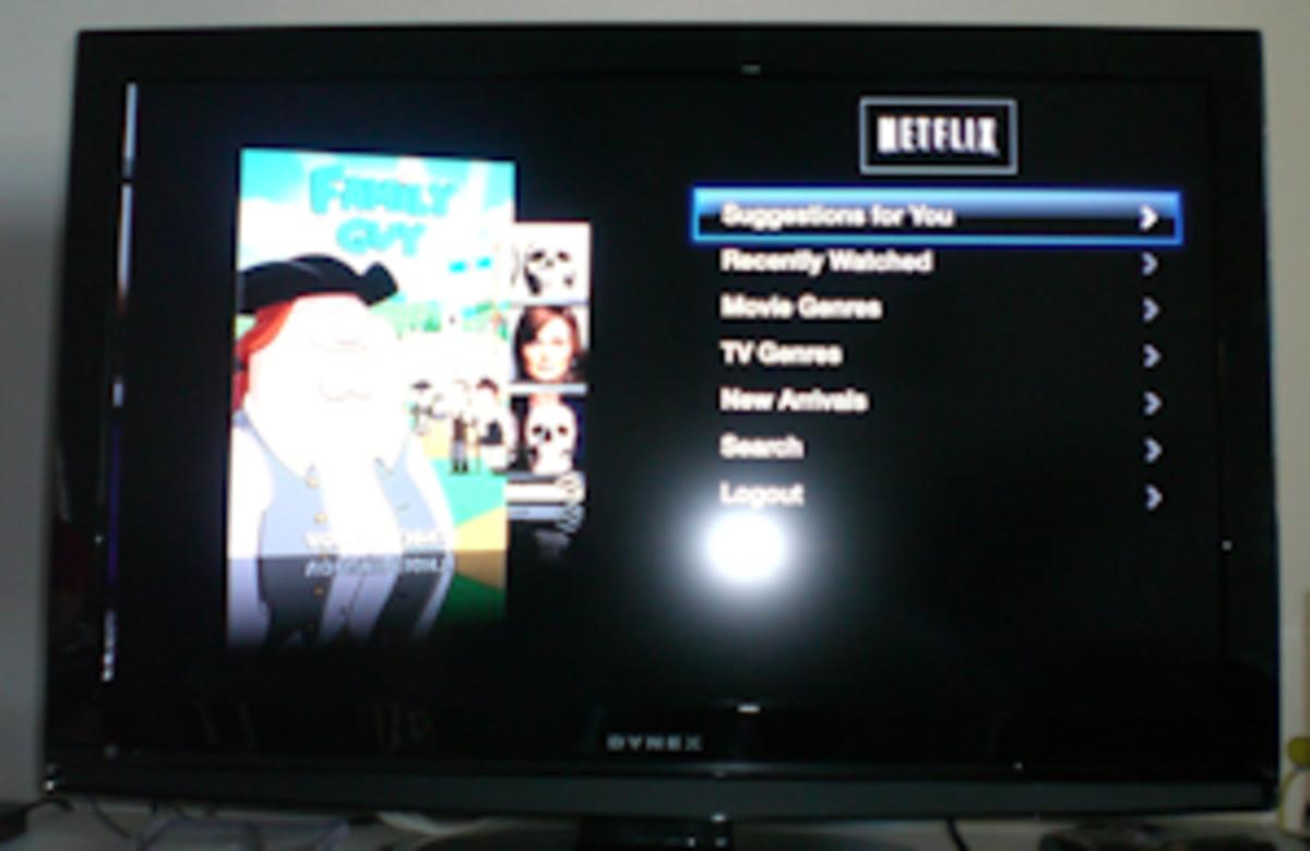 Netflix movies menu on Apple TV.