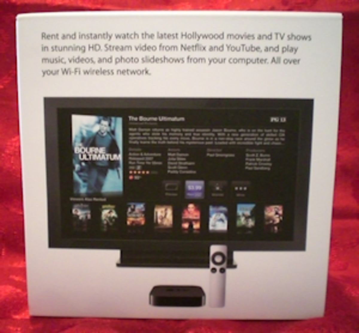 Back of packaging box for Apple TV listing some of the attributes.