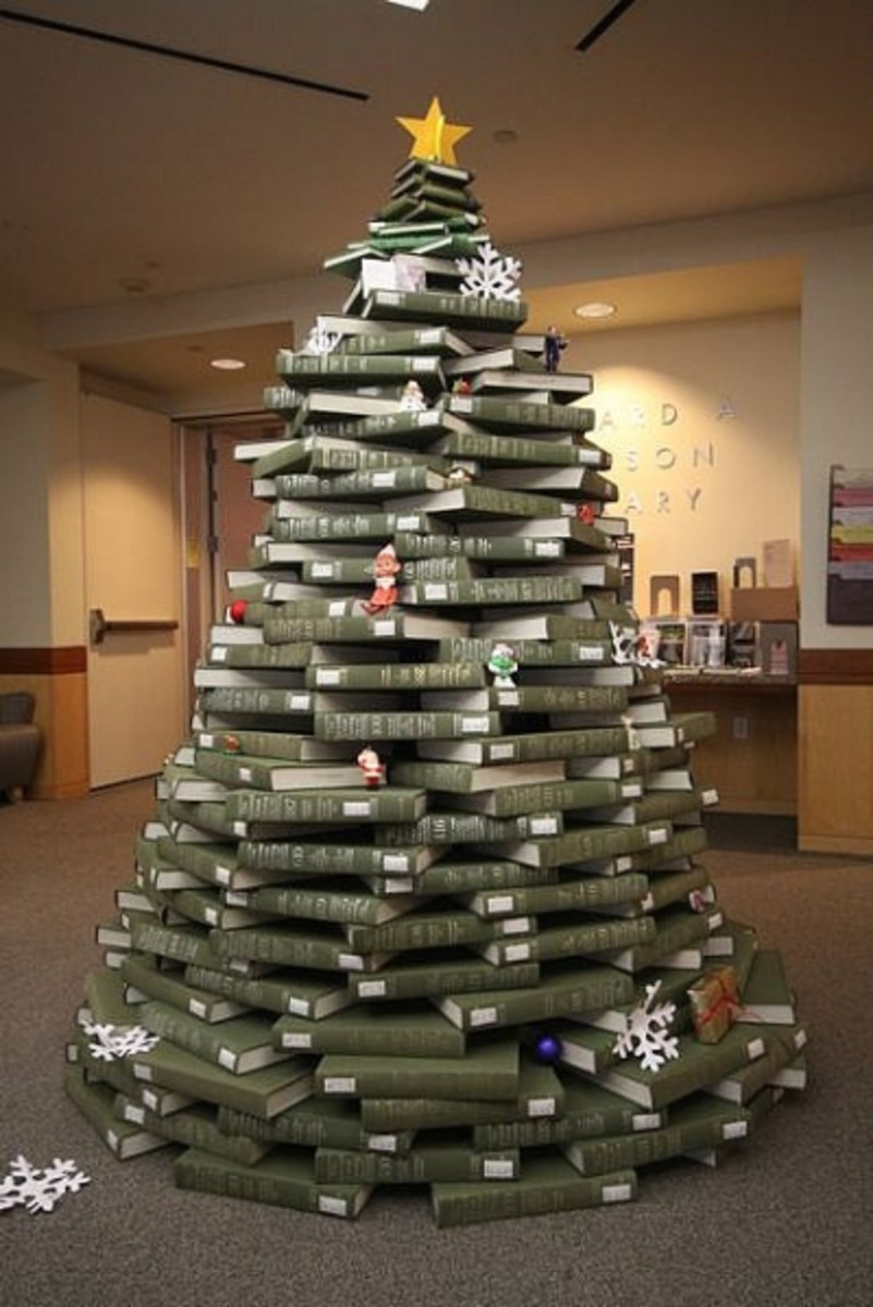 Stacked Christmas Tree in UNC Library--made with books, naturally!