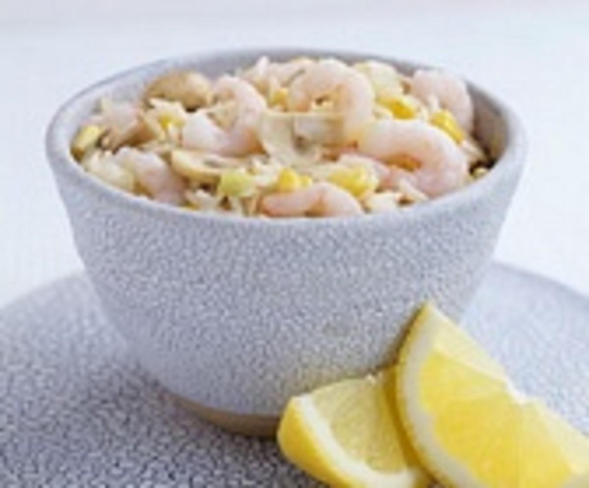 Rice, shrimps and mushroom salad