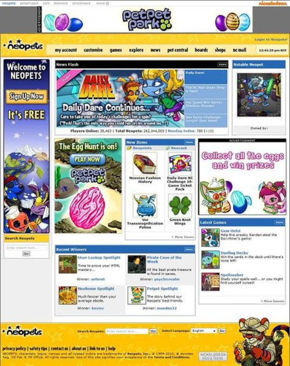 If you played Neopets a decade ago, you'll recognize this website. Neopets hasn't changed much of it's design or gameplay in a decade.