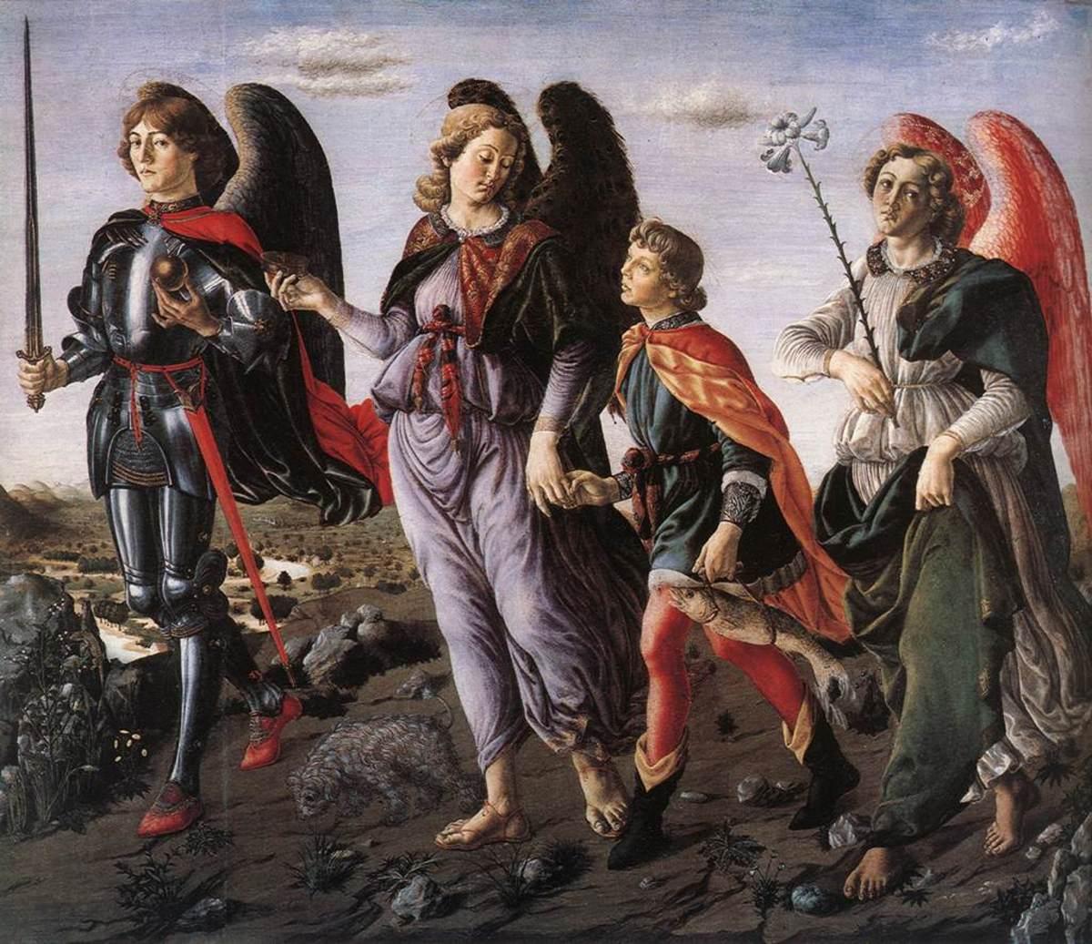 """The Three Archangels with Tobias"" (St. Michael - St. Gabriel - St. Raphael) - by Francesco Botticini (1470)"