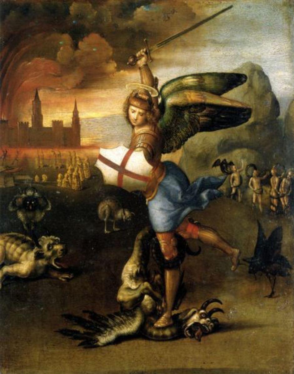 """""""The Archangel Michael Fighting Devils and Demons"""" - by Raphael (1430-1520) Museum de Louvre - Paris"""