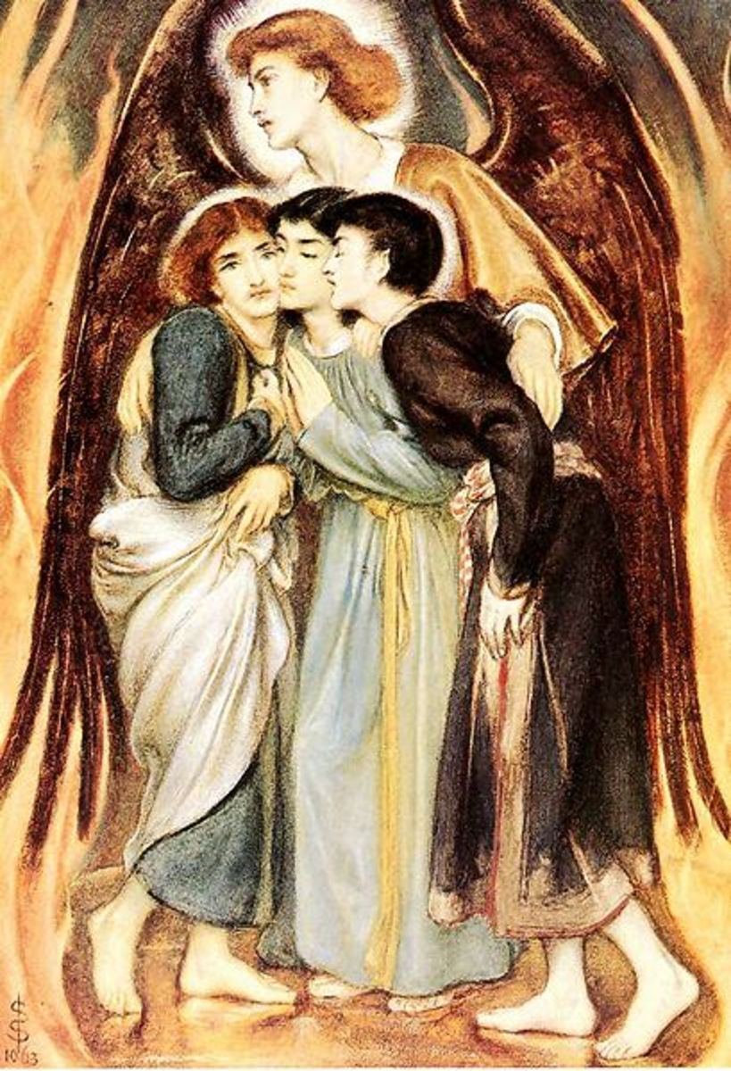 """""""Shadrach, Meshach, and Abed-nego"""" are saved from the Fiery Furnace - by Simeon Solomon (1863)"""
