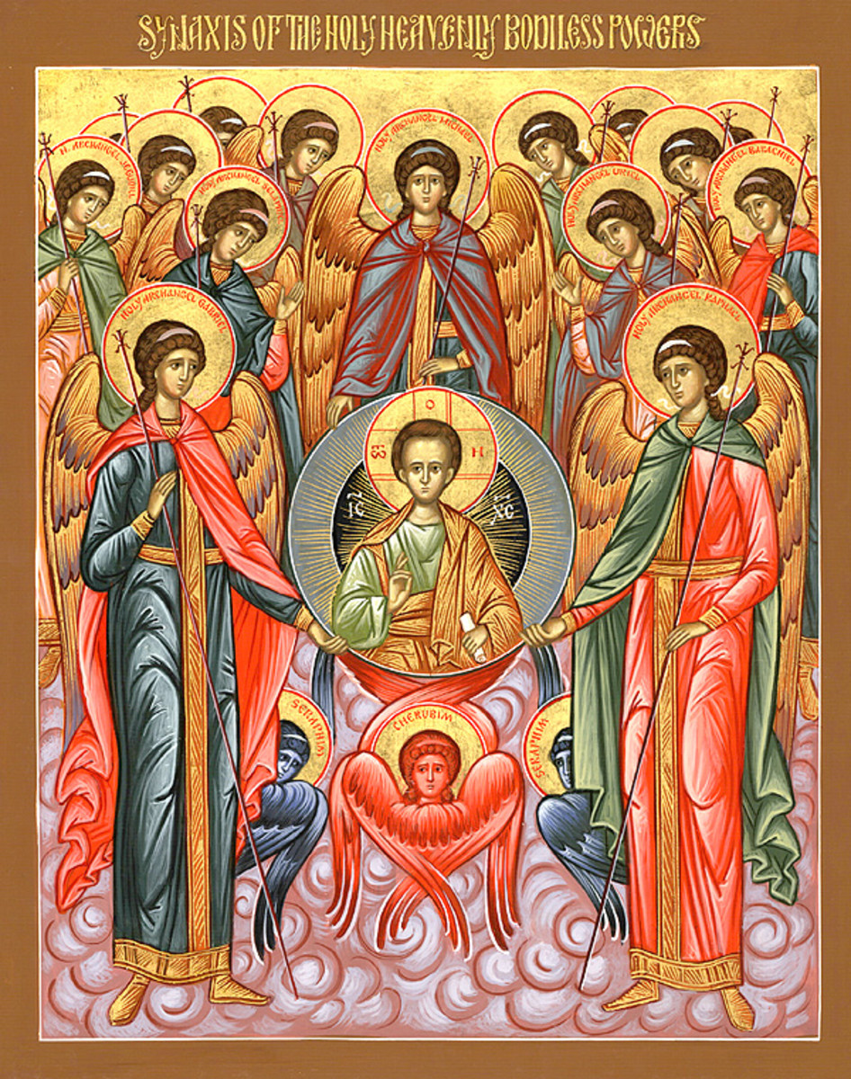 "Orthodox ""Angelic Council"" - including (7) Archangels: Jehudiel, Gabriel, Selaphiel, Michael, Uriel, Raphael, Barachiel -beneath mandorla of Christ-Emmanuel are representations of Cherubim (blue) and Seraph (red)"