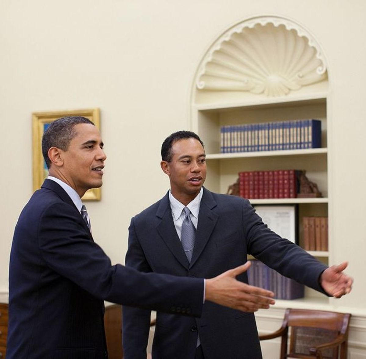 Tiger Goes to Washington: Woods meets with President Obama in April 2009.