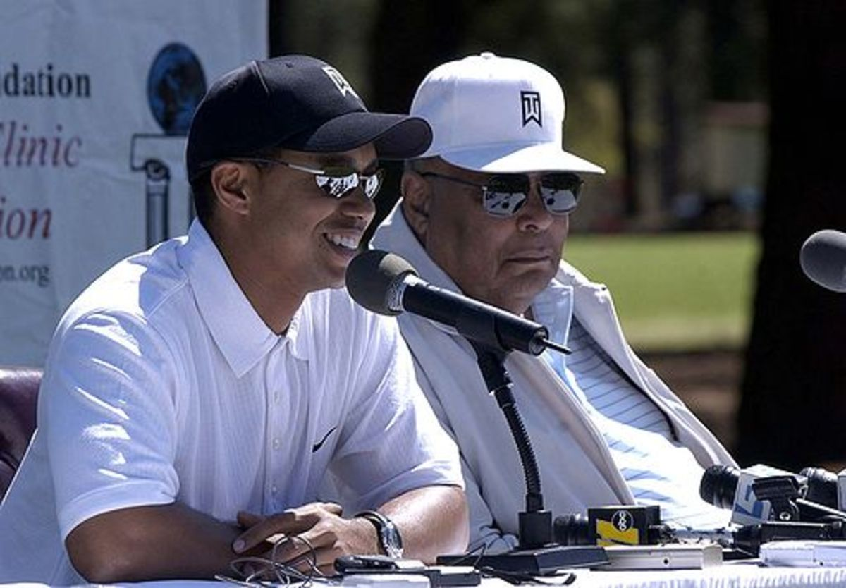 Tiger and Earl Woods in 2004, two years before Earl's death.