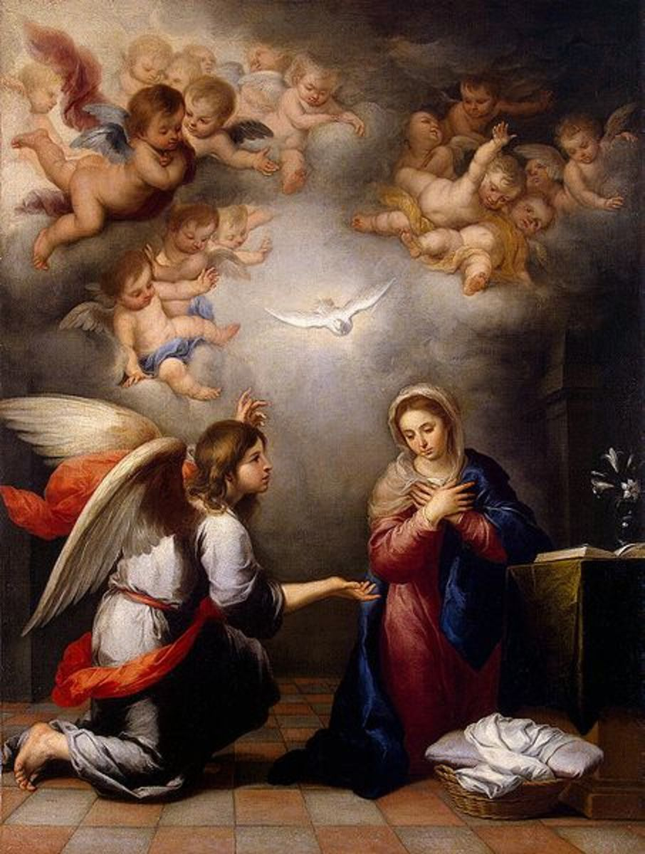 """The Angel Gabriel visits the virgin Mary in """"The Annunciation"""" by Bartolom Esteban Murillo (1655) - at the Hermitage House in St. Petersburg, Russia"""