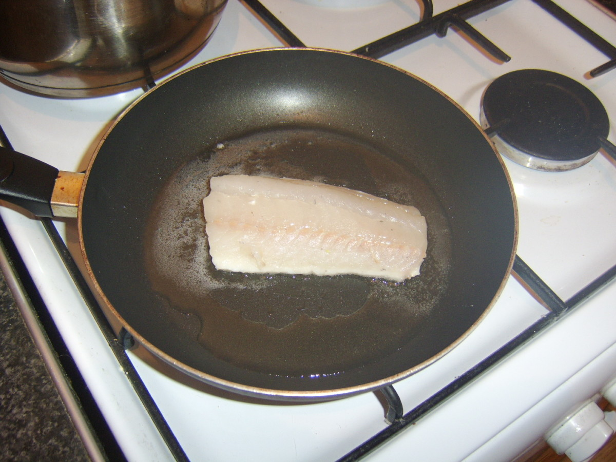 Frying the Coley Fillet Skin SIde Down
