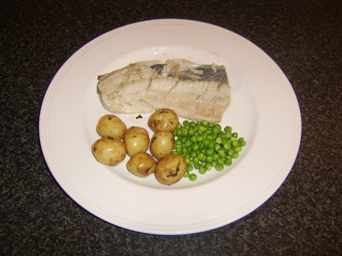 The flesh should peel easily from the skin of the baked coley fillet