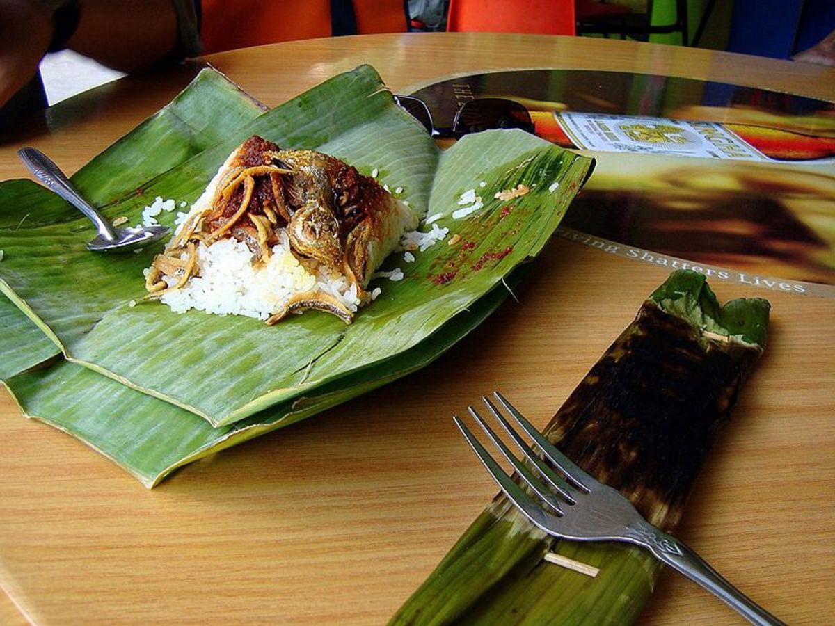 Banana leaves used to wrap food, source: Wikipedia