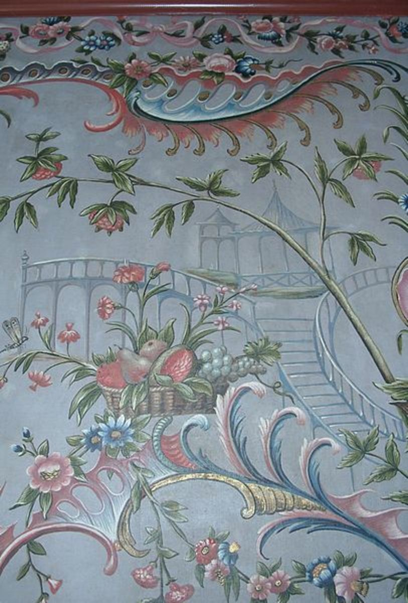 Wallpaper on canvas, handpainted, with chinoiserie and rococo ornaments (around 1765)