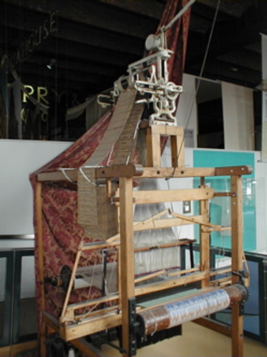 Jacquard loom on display at the Manchester museum of science and industry