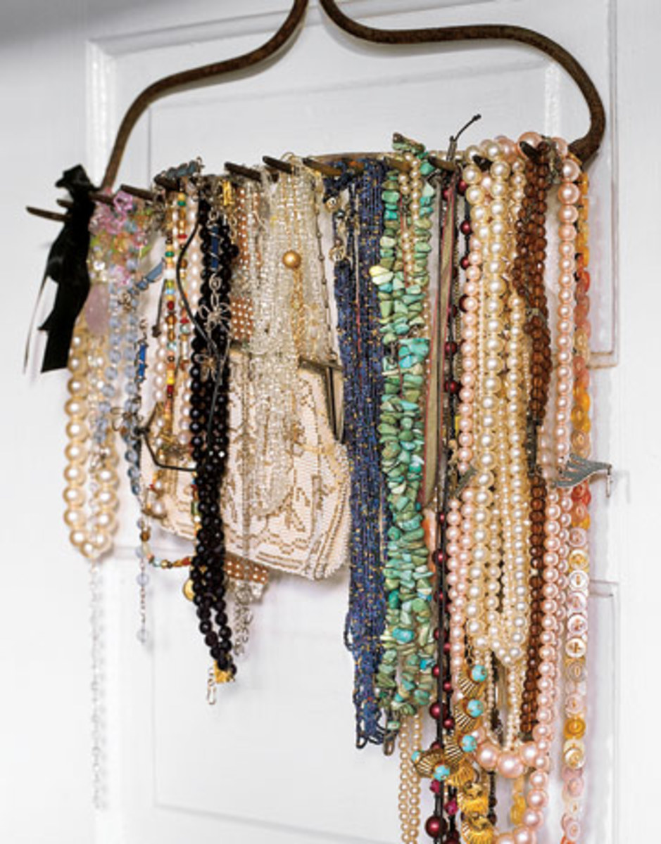 Idea#3: Hanging necklaces on a clothes hanger