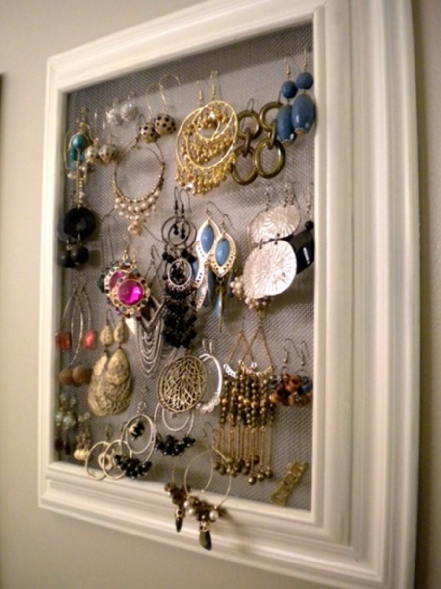 Idea#1: Hanging earrings in a frame
