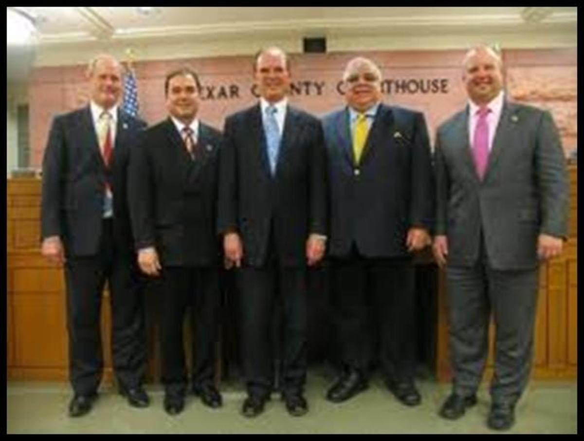 Bexar County Commissioners: Chico Rodriguez, 2nd from the left.