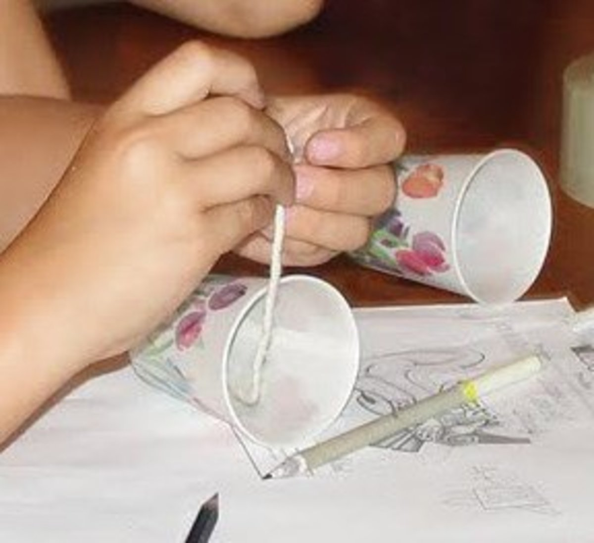 Creating paper cup phones