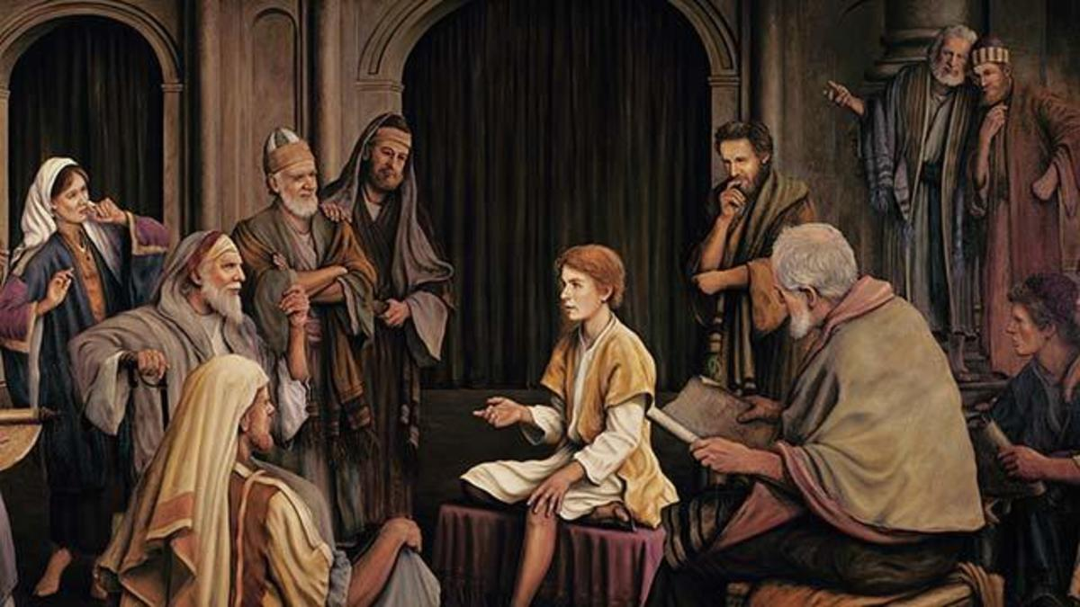 Jesus stayed behind in the temple while his parents headed back home.