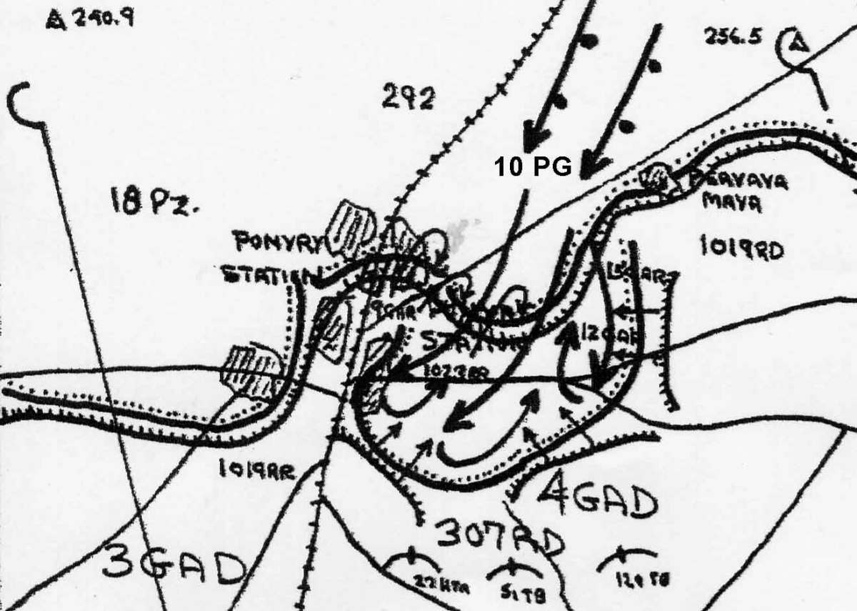Map situation of the battle