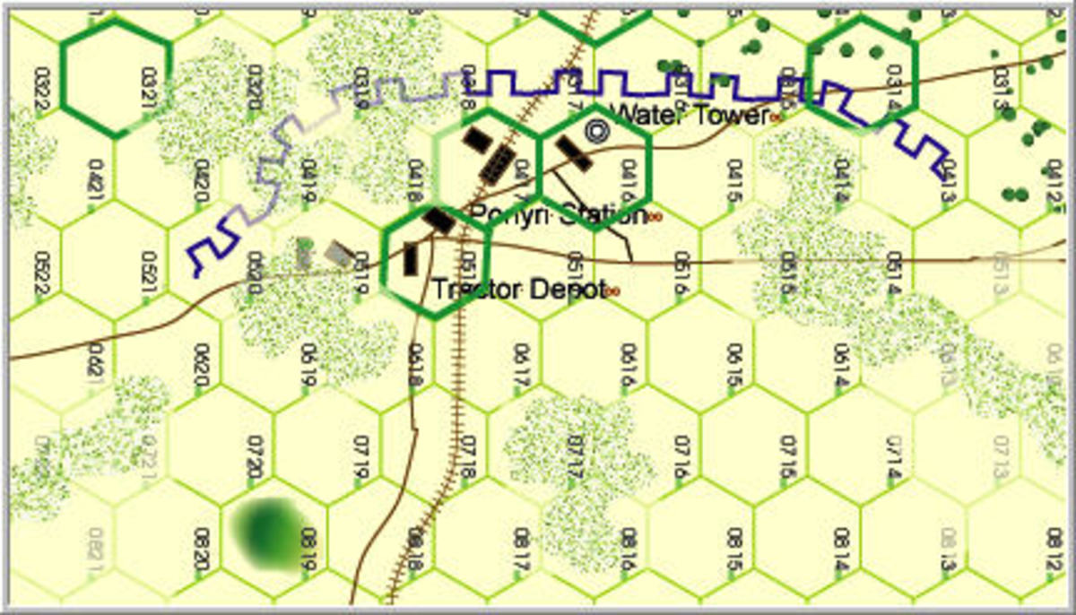 A section of a game map from Firefight Games on the battle.