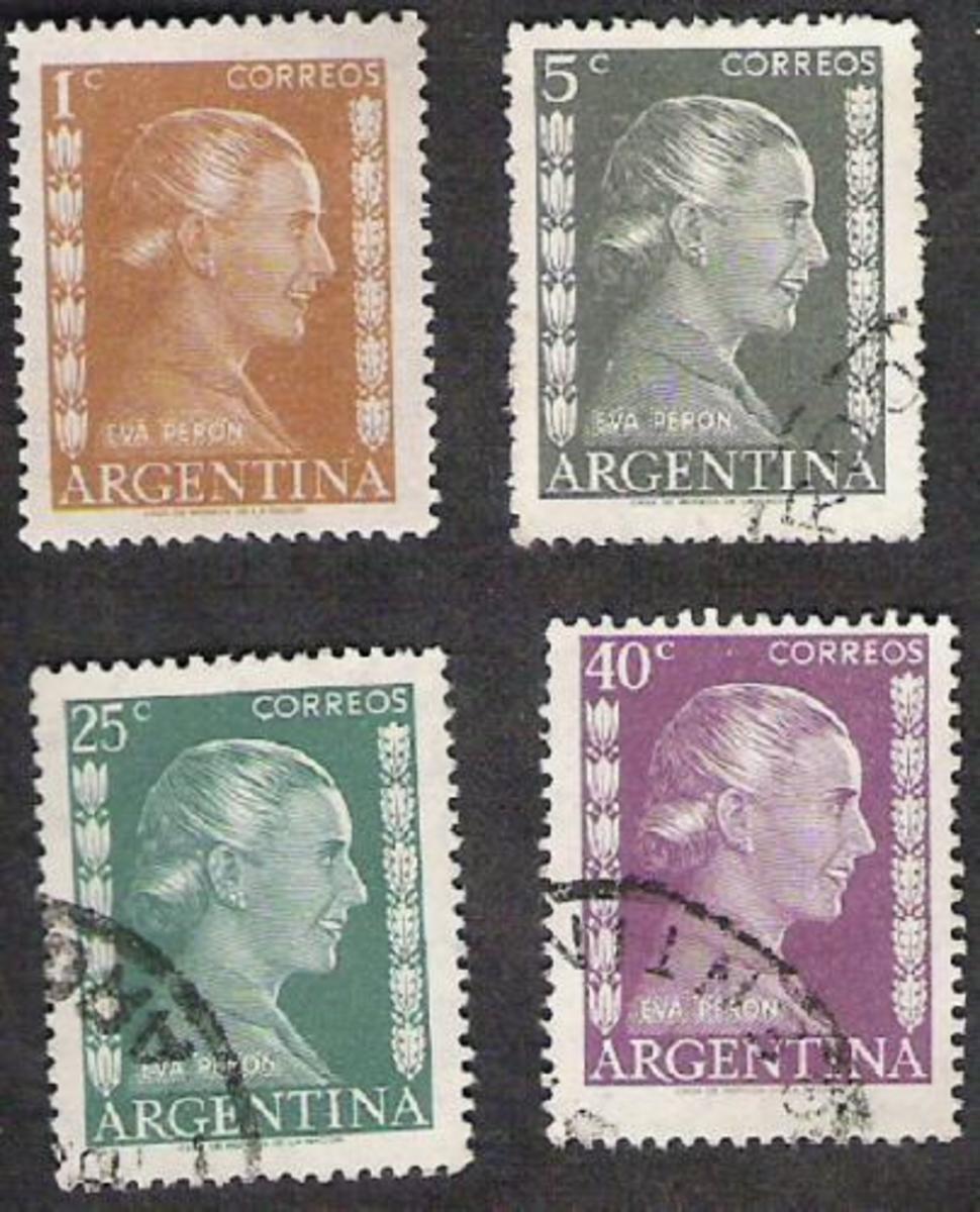 Evita on Argentina stamps