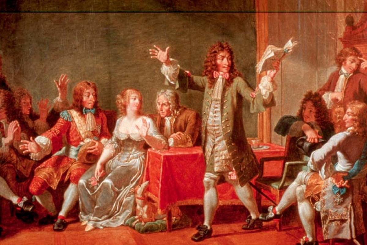 """""""Molire lisant son Tartuffe chez Ninon de l'Enclos.""""The figures depicted are Pierre Corneille, Jean Racine, Jean de la Lafontaine, the Marchal de Vivone, Nicolas Boileau, Chapelle, Jean-Baptiste Lully, Thomas Corneille, Jules Mansard, Philippe Quinau"""