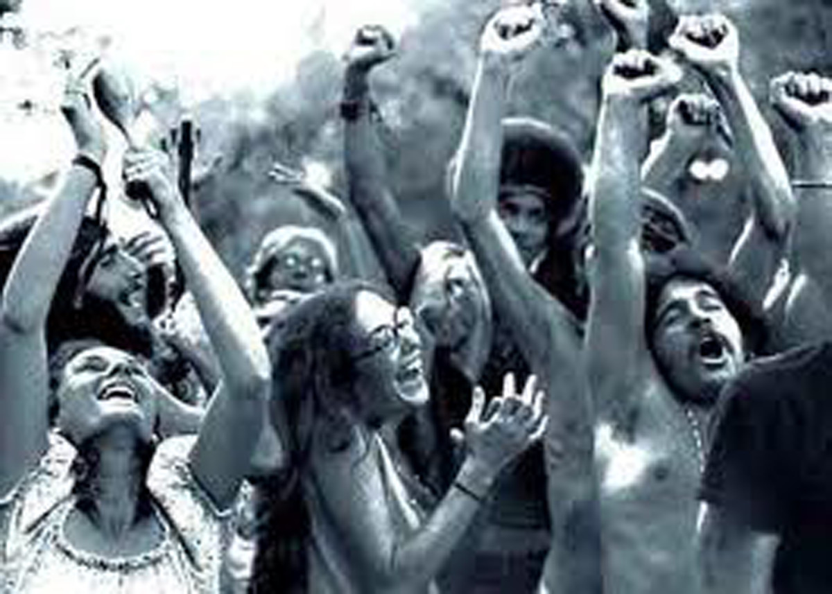 Hippy Crowd Overcome By The Music During Woodstock Concert 1969