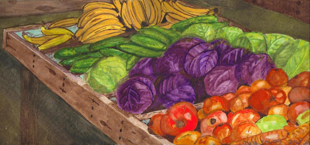 A Watercolor Painting done by the author from the Farmer's Market shown above.