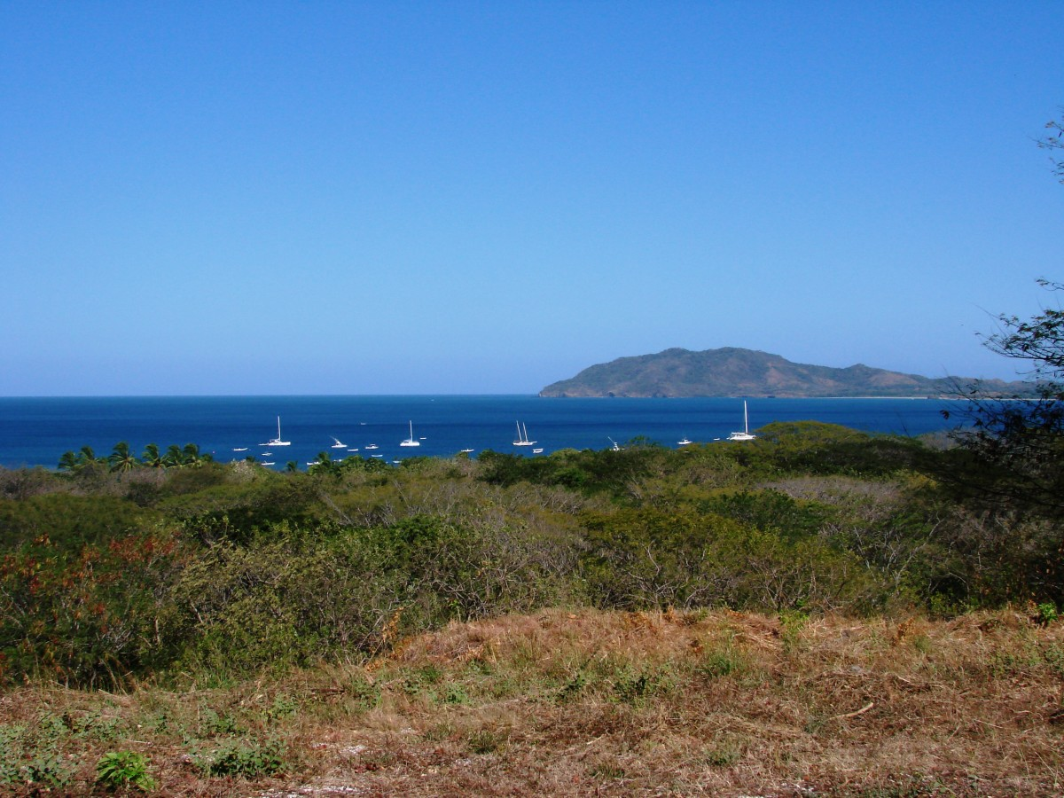 View of Tamarindo Bay and Playa Grande from a high hill top.