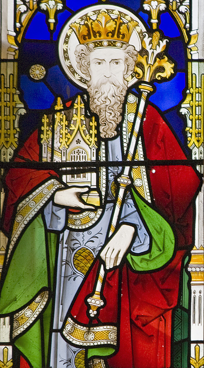 Stained glass window depicting King Solomon
