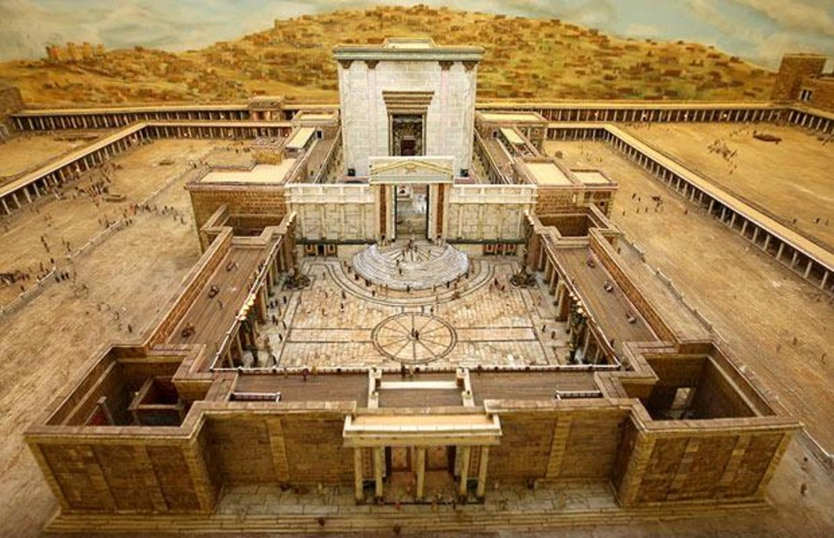 A photo of a model of Solomon's Temple. The original was destroyed by the Babylonians.