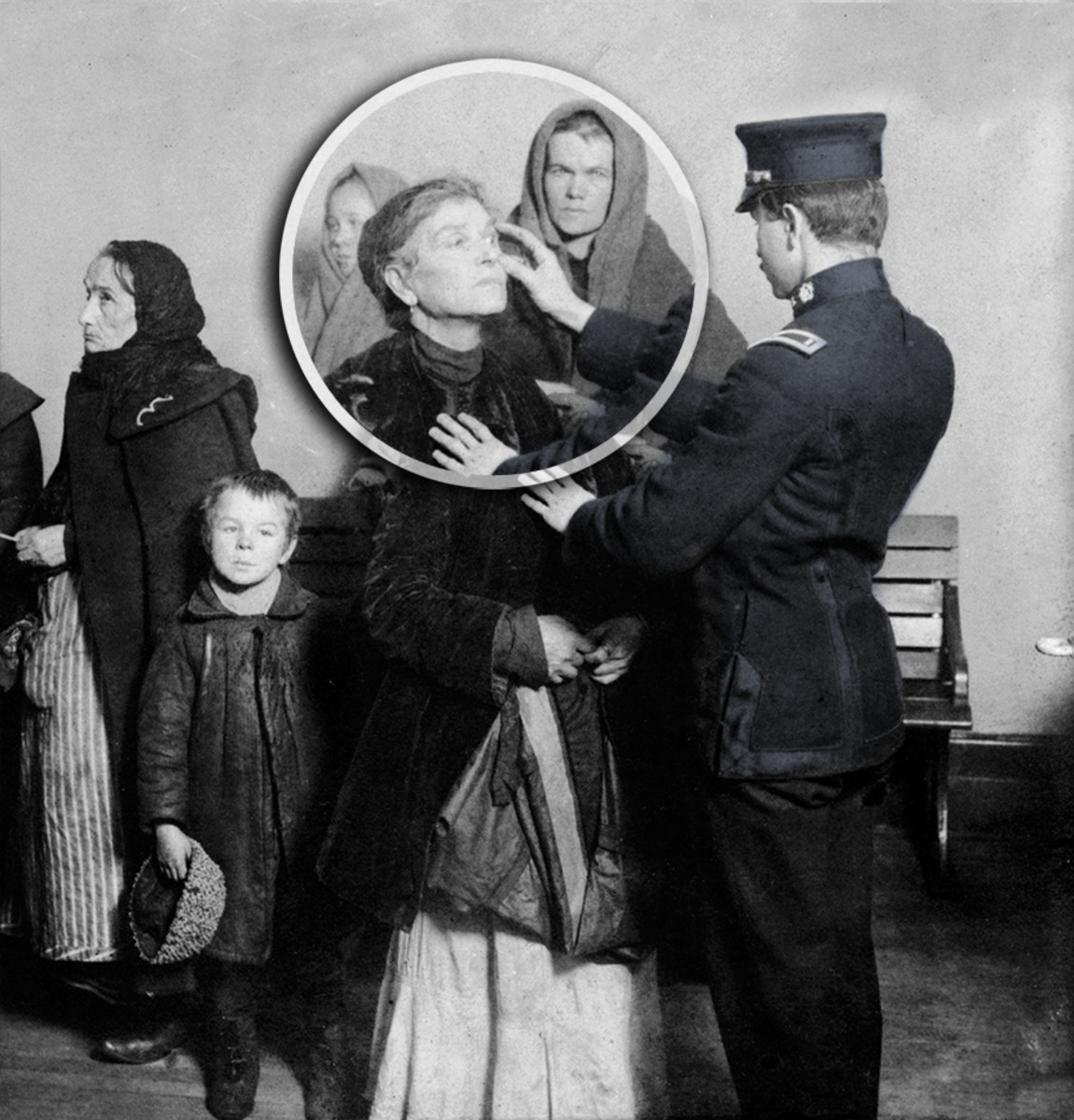 Ellis Island | Non-medical personal conduct an eye inspection - trachoma would mean the person would be refused entry.